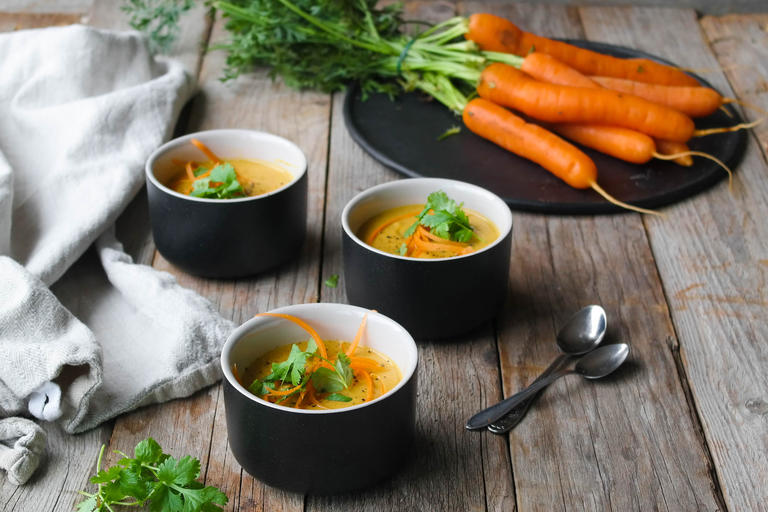 Spicy gulrot- og linsesuppe